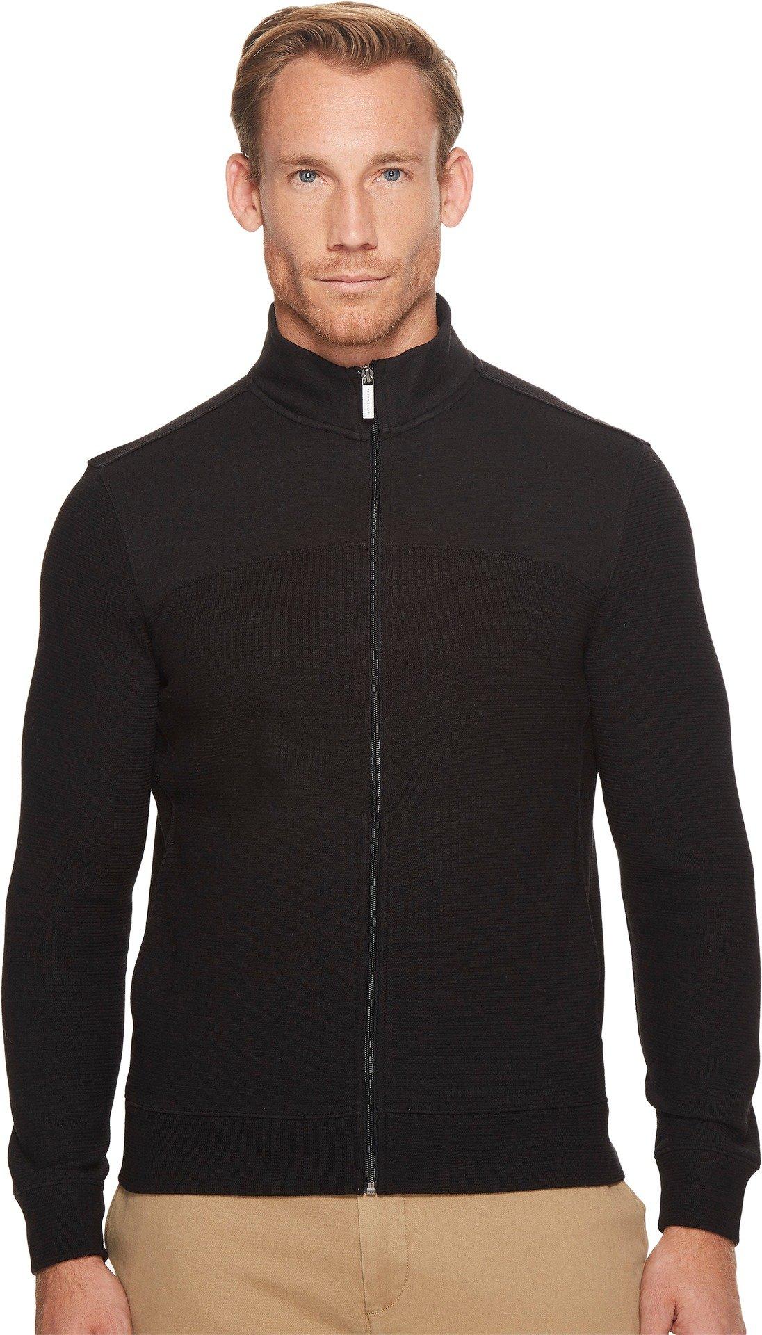 Perry Ellis Men's Cotton Blend Full Zip Texture Knit Jacket, Black-4CHK7101, Extra Large by Perry Ellis
