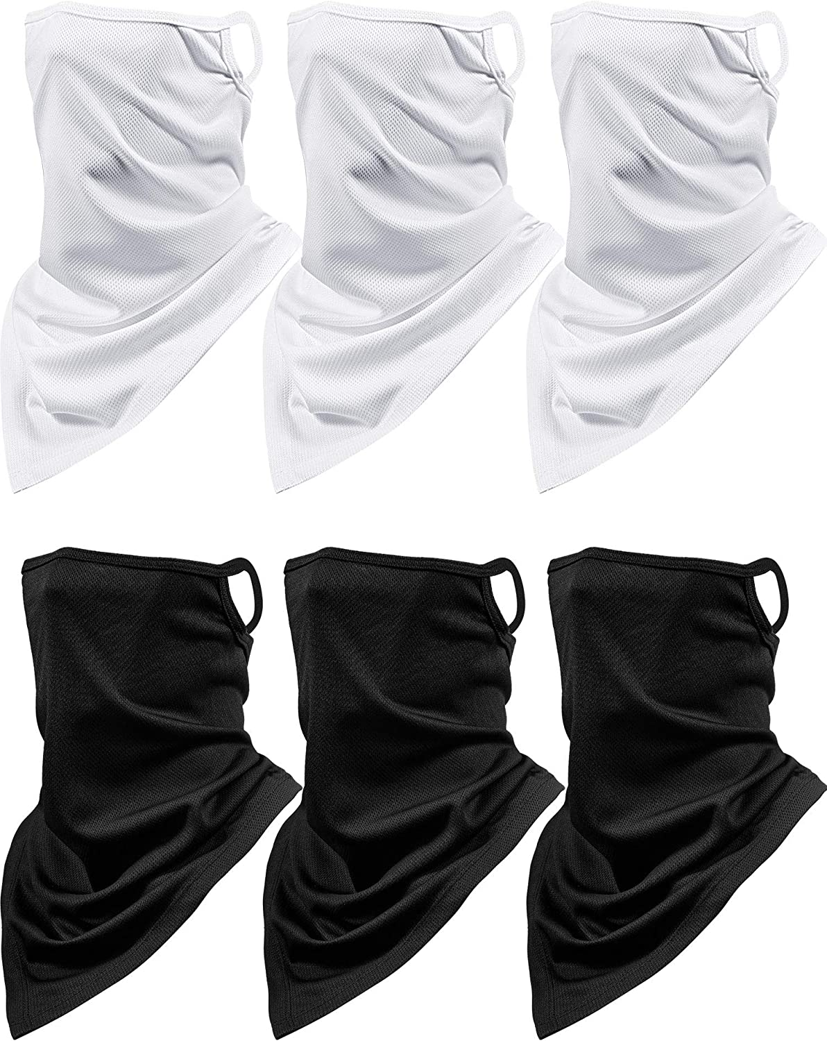 6 Pieces Summer Face Cover Neck Gaiter UV Protection Face Bandana Scarf Unisex Breathable Balaclava with Ear Loop