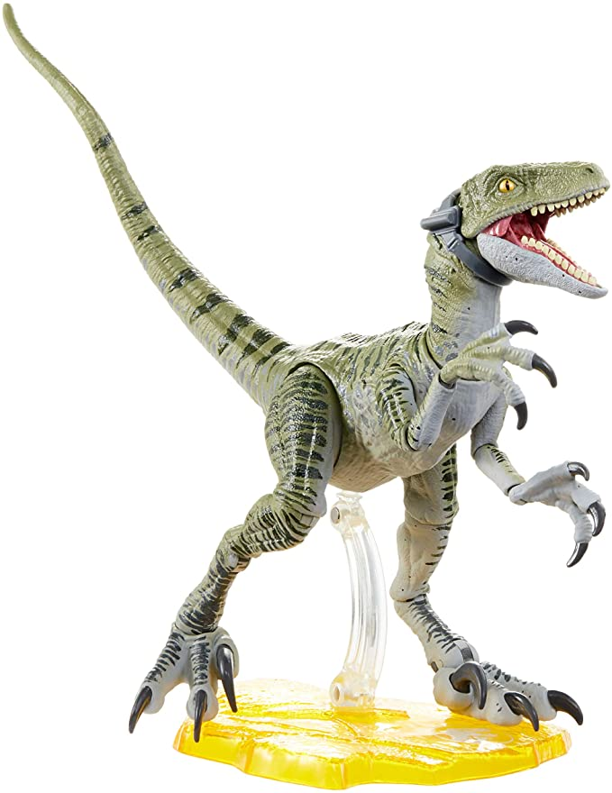 Amazon.com: Jurassic World Velociraptor Charlie 6-inches (15.24 cm) Collectible Action Figure with Movie-Authentic Detail, Movable Joints and Figure Display Stand; for Ages 4 and Up: Toys & Games