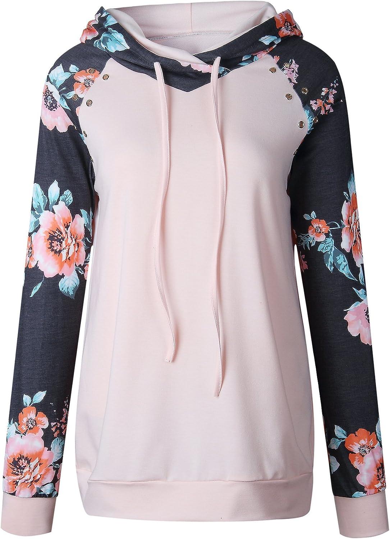 Naier Women Floral Printed Hoodies Long Sleeve Drawstring Hooded Sweatshirts Pullover for Teen Girl