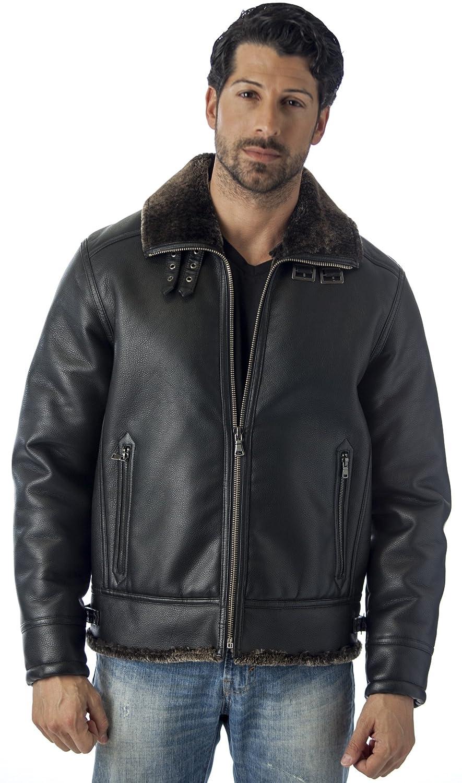Black Reed Men's B-3 Bomber Jacket Shearling Style Coat