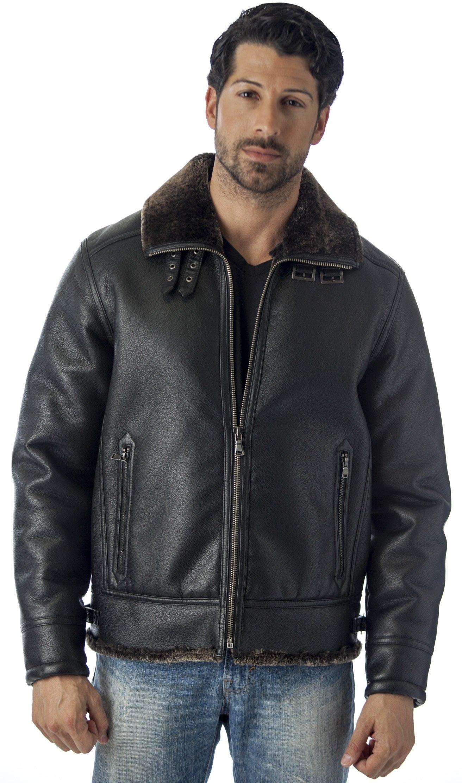 REED Men's B-3 Bomber Jacket Shearling Style Coat (XL, BLACK)