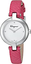 Salvatore Ferragamo Women's Miniature' Swiss Quartz Stainless Steel and Leather Casual Watch, Color:Pink (Model: FAT010017)