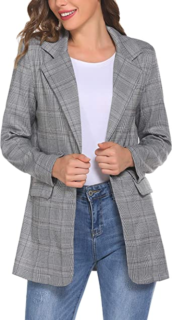 Chainscroll Womens Loose Buttons Work Office Blazer Suit Casual Plaid Long Sleeve Jacket with Pocket