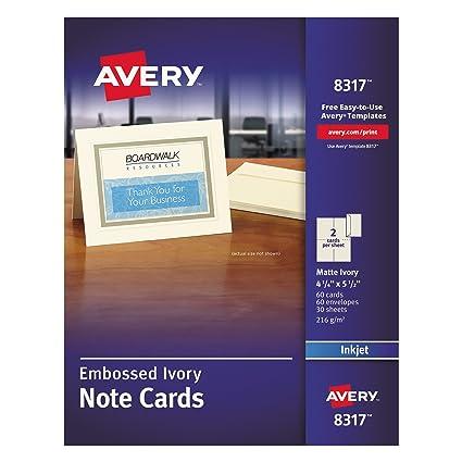 Amazon Avery 8317 Embossed Note Cards Inkjet 4 14 X 5 12