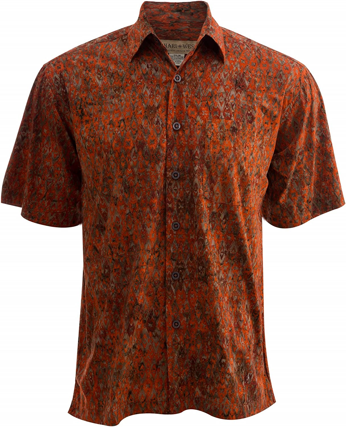 Johari West Fire Diamonds Tropical Hawaiian Cotton Batik Shirt