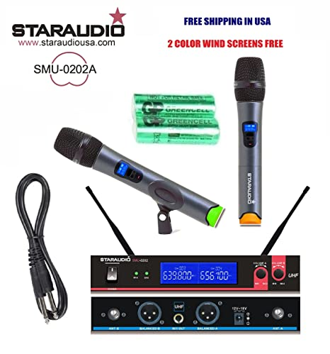 staraudio marca nueva Pro etapa dj 2 canales inalámbrico UHF Dual Sistema de micrófono de mano