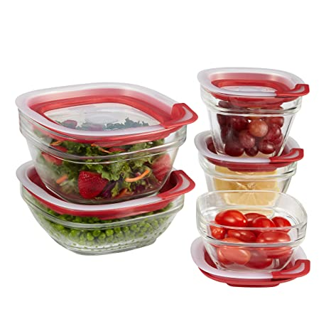Rubbermaid Easy Find Lids Glass Food Storage Containers, Racer Red,  10 Piece Set