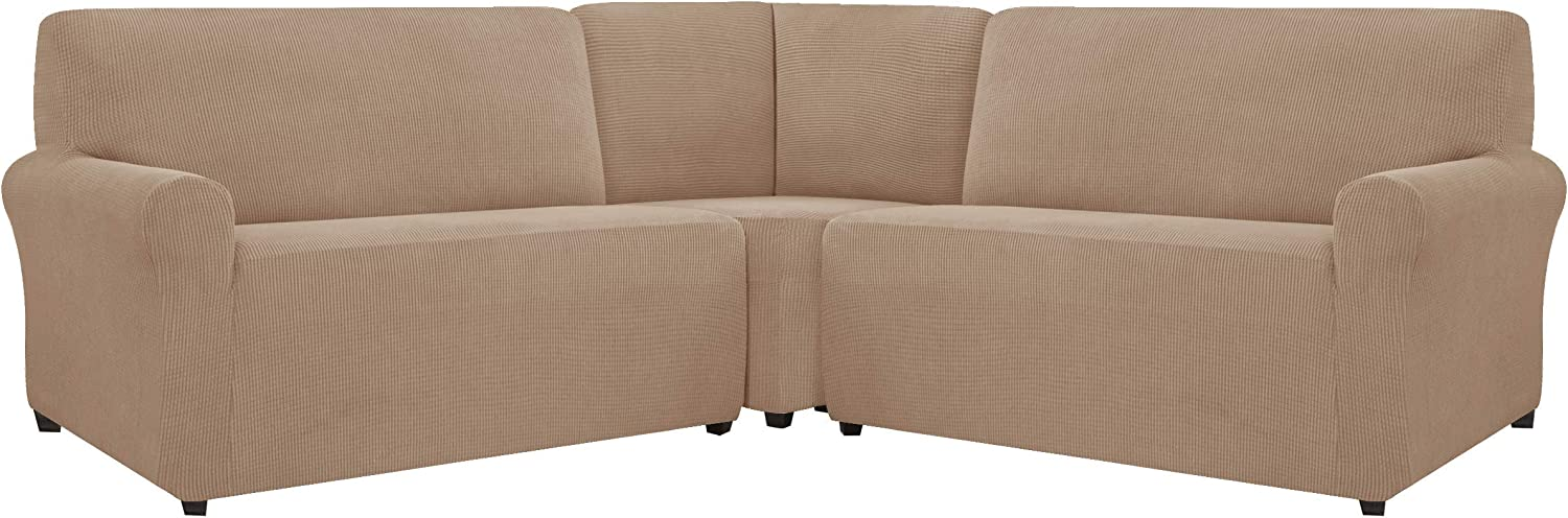 CHUN YI 3 Piece Corner Sofa Cover Sectional Stretch Couch Slipcover Set Washable Armchair Universal Elastic Couch Replacement for Living Room Furniture Sofa (Camel)