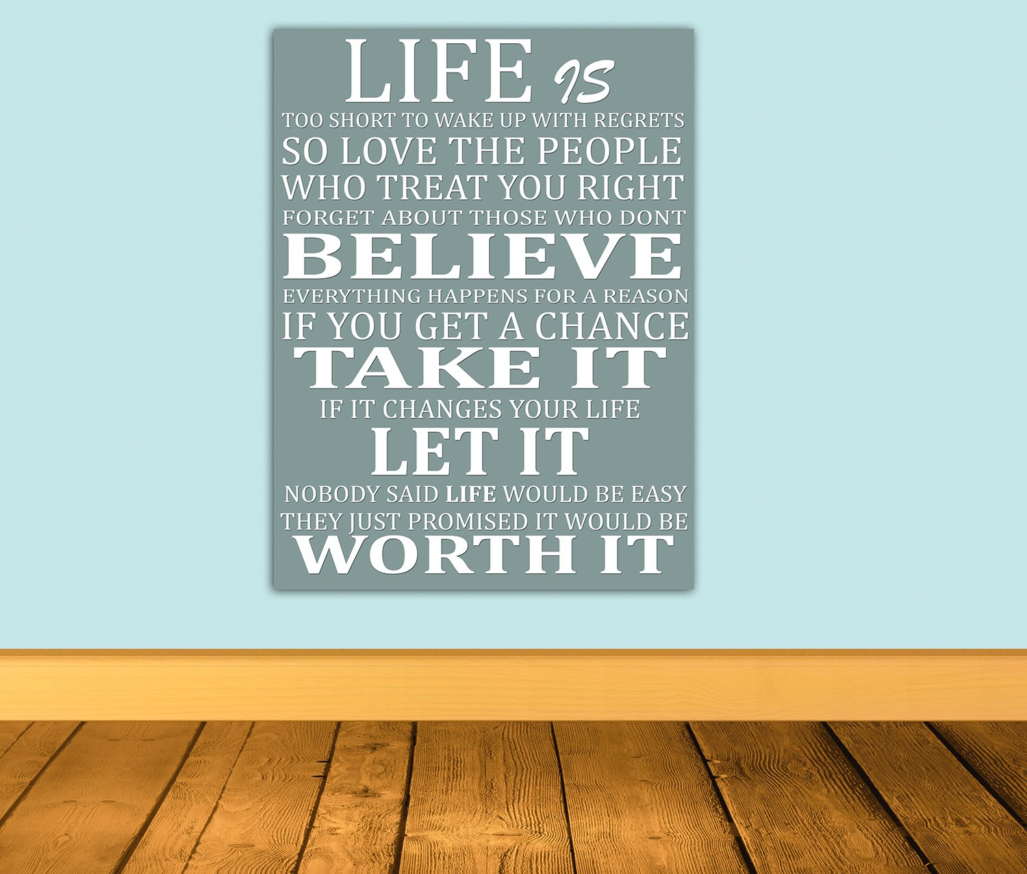 Life Is Too Short Quote   Wall Art Box Canvas   Grey A3 12x16 Inch