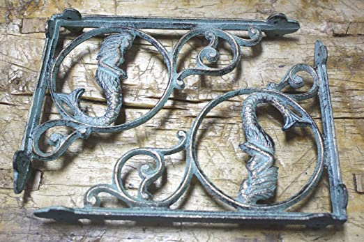 12 Cast Iron NAUTICAL MERMAID Brackets Garden Braces Shelf Bracket PIRATES Ship