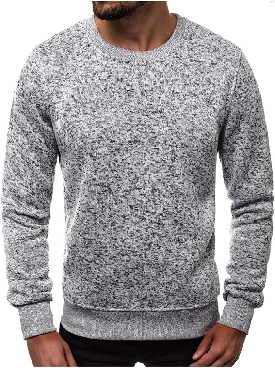 Losait Mens Splice Round Neck Fashion Long Sleeve Pure Color Pullover Shirts Top