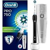 Oral-B Pro 750 CrossAction Cepillo eléctrico recargable, 1 mango rosa, 1 cabezal recambio, funda de viaje de plástico, color blanca