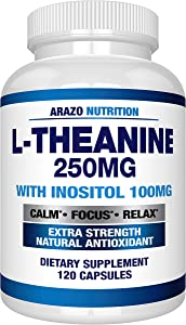L-Theanine 250mg (Extra Strength) with Inositol 100mg, 120 Capsules Vegetarian, Arazo Nutrition