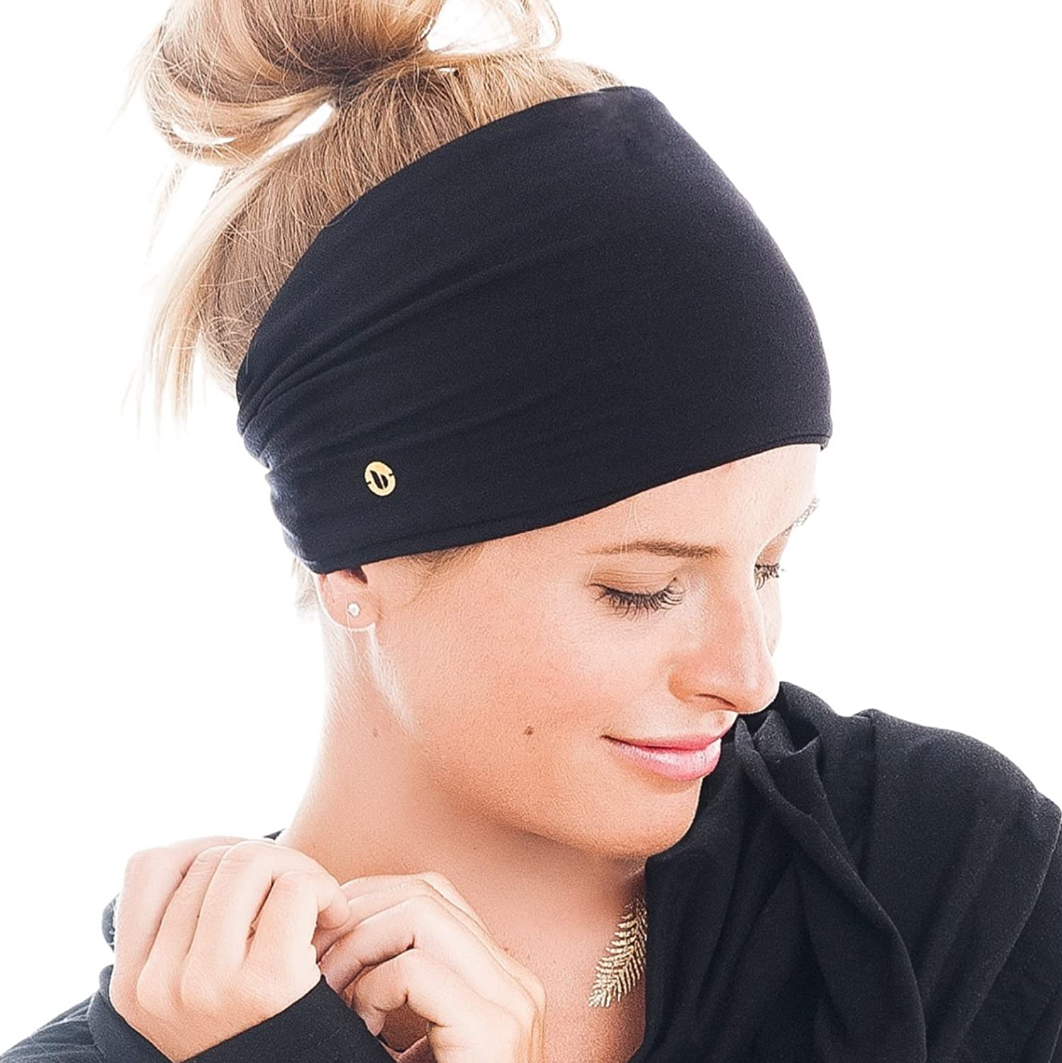 BLOM Original Headbands For Women. Multi Style Design for Yoga Fashion Workout Gym Running Athletic Travel. Wear Wide Turban Thick Knotted. Comfort Stretch Versatility. Ethically Made in Bali. (Black): Clothing