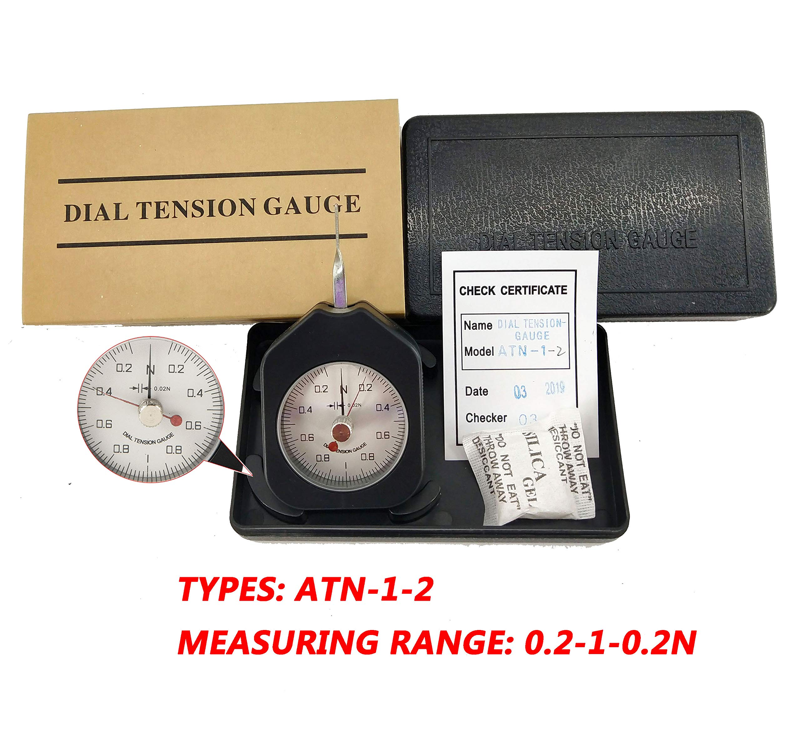 HFBTE ATN-1-2 Double Pointer Dial Tension Gauge with 0.2-1-0.2N Measurement Range Pocket Size Tensionmeter Tester