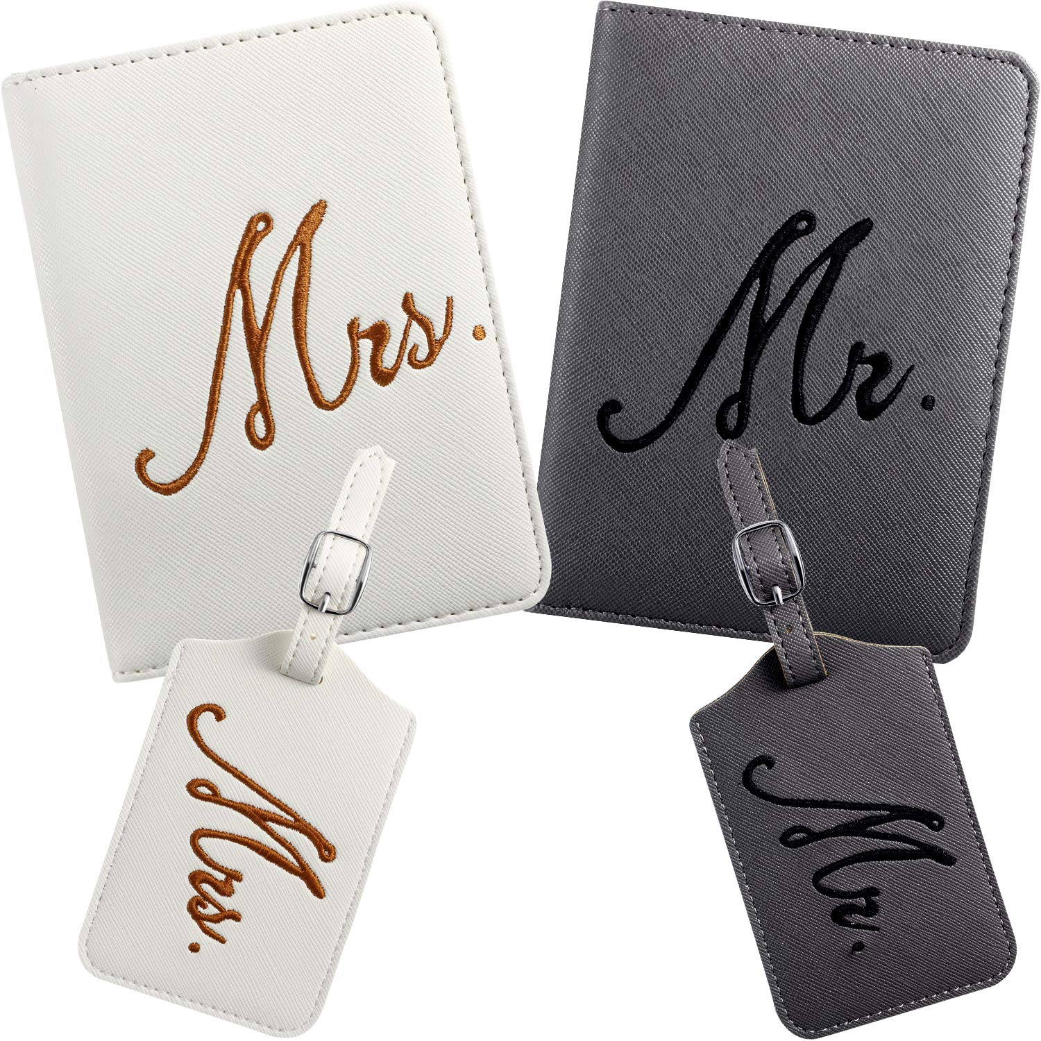 2 Pieces Mr and Mrs Bridal Luggage Tags and Passport Covers (White, Gray) by Frienda