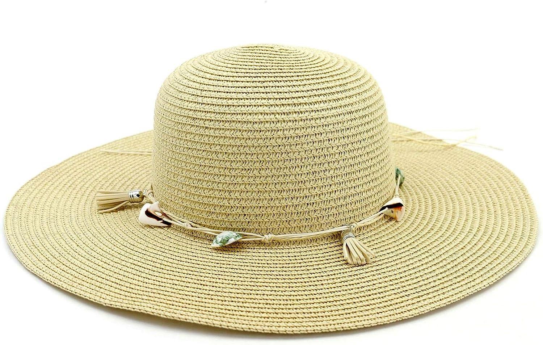 AiZnoY Sommerhut Sonnenhut am Strand Oder Im Urlaub UV Schutz Faltbar Verstellbar Strohhut Khaki