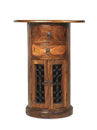 Jali Sheesham Oval Drum Chest - Indian Wood Furniture