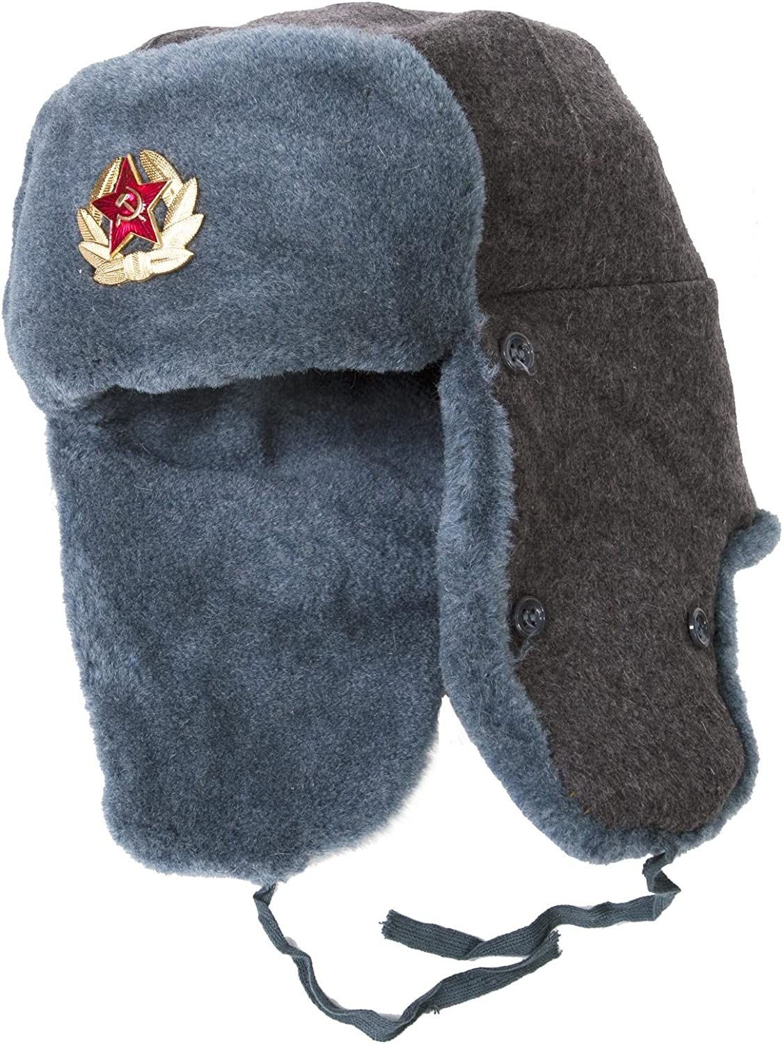 TEPEM Authentic Russian Army Ushanka Winter Hat, with Soviet Army Officer Insignia