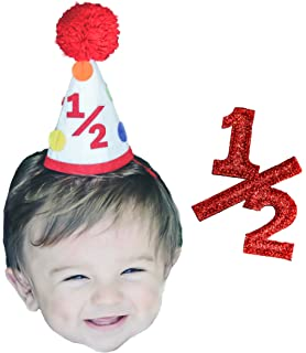 Half Year Boy Birthday 6 Months Colorful Pom Party Hat And 1 2 Sign
