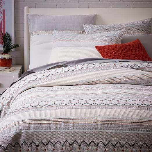 West Elm | Organic Nordic Stripe Jacquard Duvet Cover