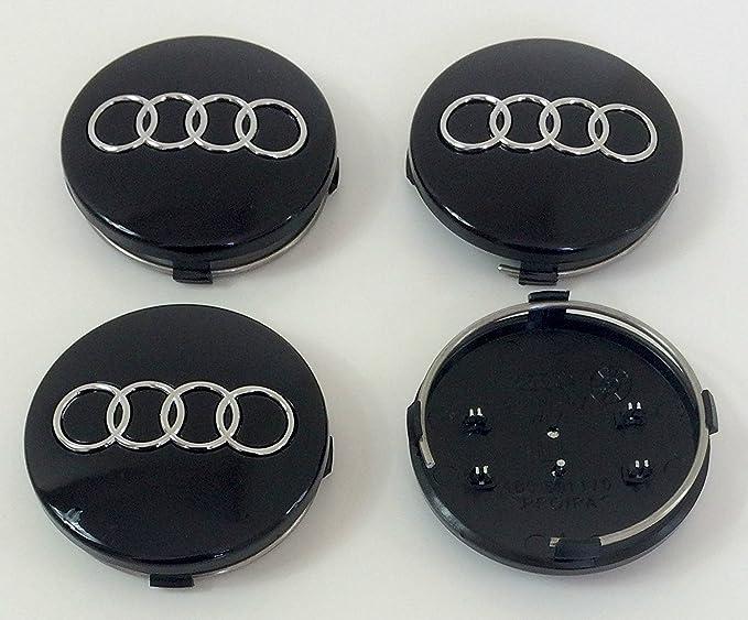 Juego de 4 embellecedores para llantas, de 60 mm, 4B0 601 170, color negro, para Audi: Amazon.es: Coche y moto