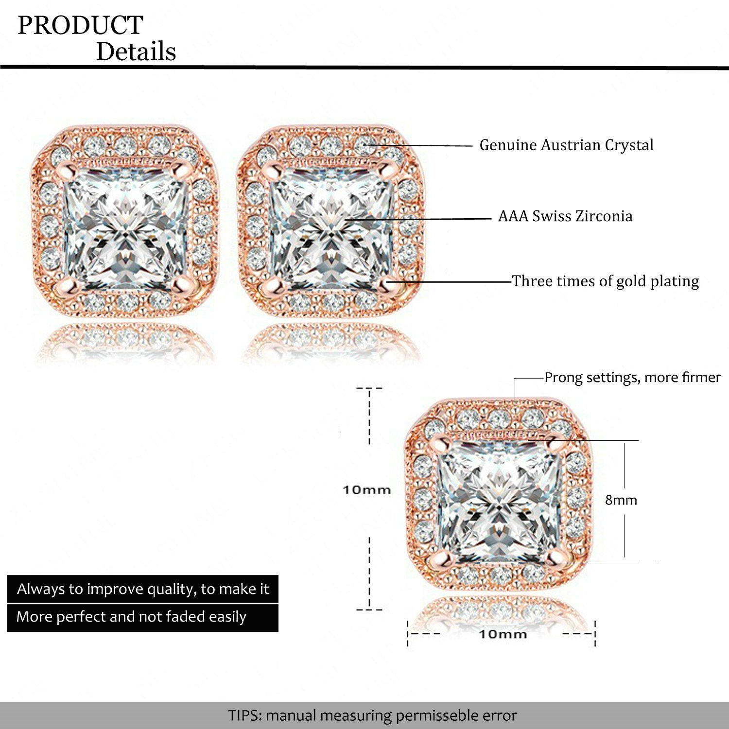 AnaZoz Jewelry 18K Gold Plated Square Stud Earring Rose Gold Plate/Platinum Plated SWA Elements Austrian Crystals Earrings by AnaZoz (Image #2)