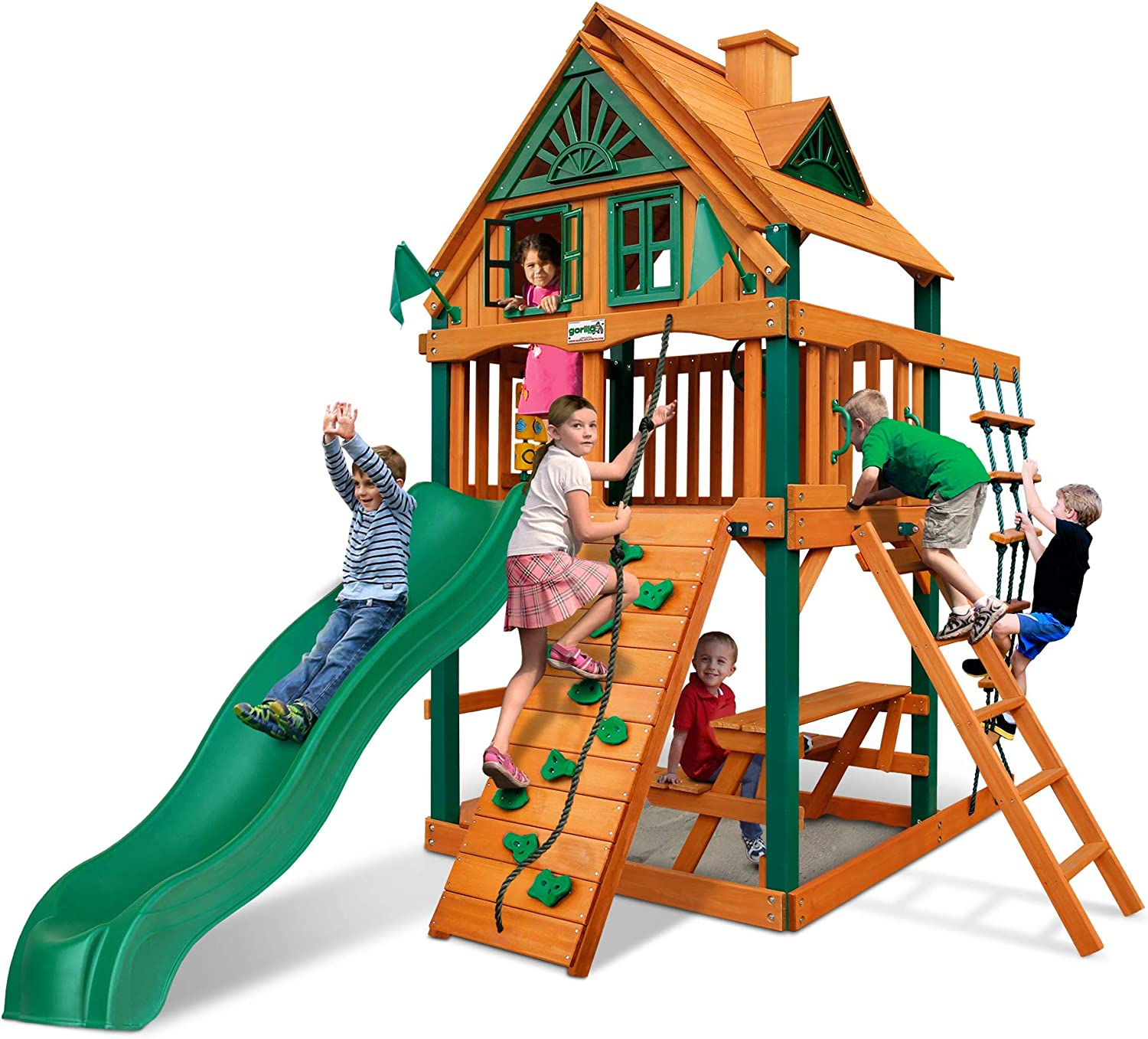 Gorilla Playsets 01-0062-TS Chateau Treehouse Tower Wooden Swing Set with Timber Shield Posts, Rock Climbing Wall, and Alpine Wave Slide