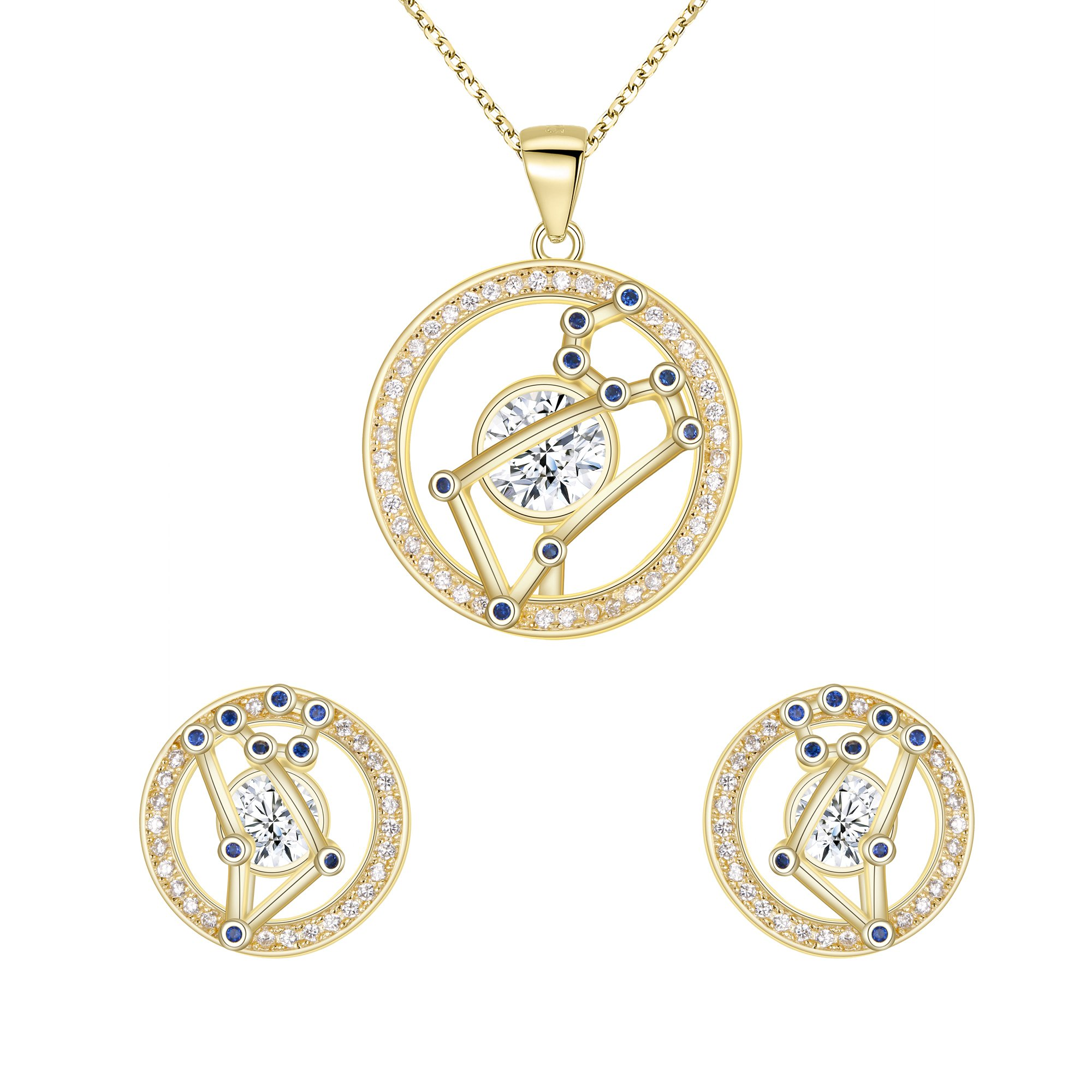 FANZE Leo-925 sterling silver Horoscope Zodiac 12 Constellation CZ Pendant Necklace Dangle Earrings Sets Golden Birthday Gift GoldPlated 18''+ 1.7'' by FANZE