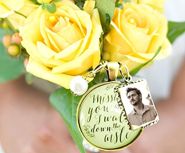 Missing You As I Walk Down The Aisle Wedding Bouquet Memory Charm Bridal Pendant Memorial