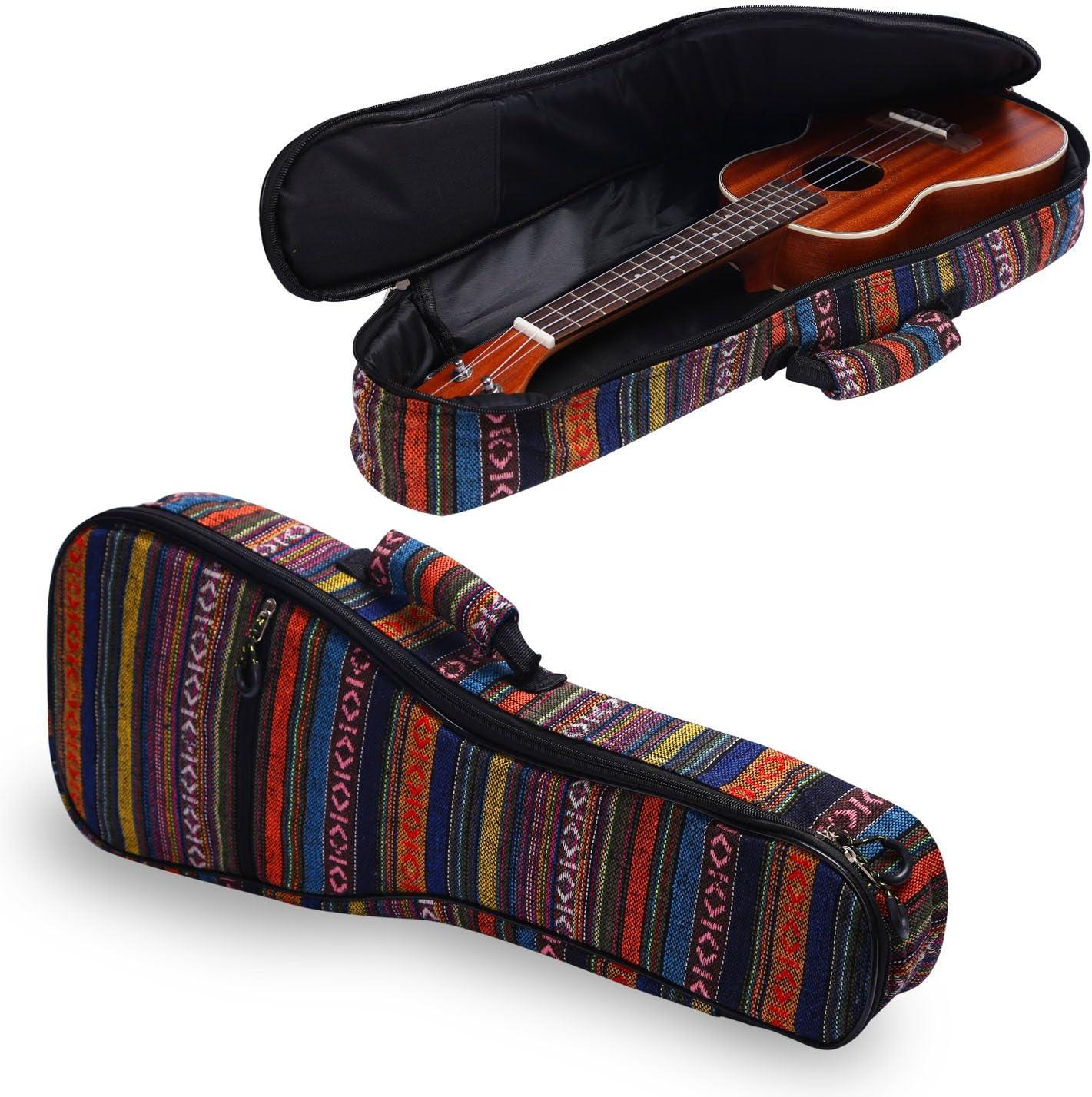 CAHAYA Ukulele Bag Tenor Cotton Ukulele Case 26 Inch 9MM Thick Soft Padding Adjustable Straps Bohemia Vintage Style