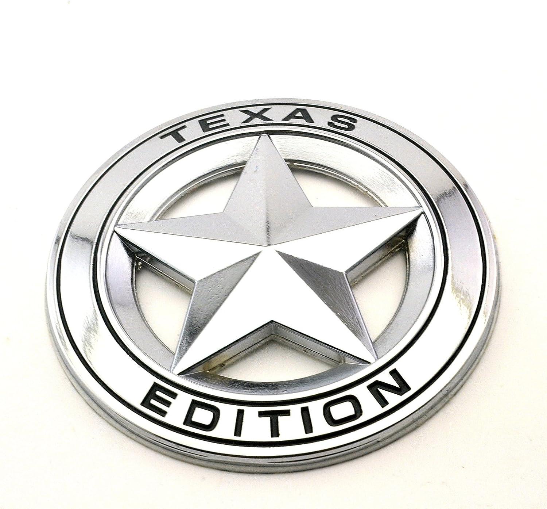 Texas Edition Star Chrom Metall Emblem Aufkleber Schwarz Auto