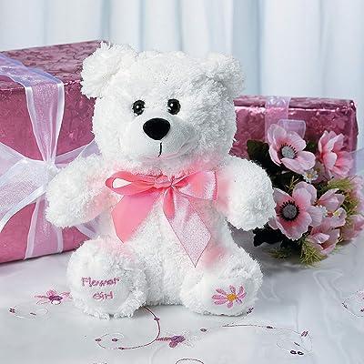 Fun Express - Plush Flower Girl Bear for Wedding - Toys - Plush - Stuffed Bears - Wedding - 1 Piece: Toys & Games