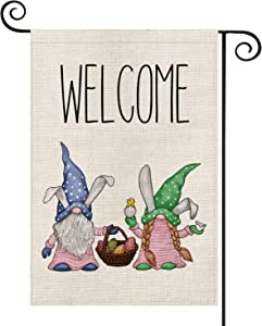 AVOIN Welcome Easter Gnomes Garden Flag Vertical Double Sized, Holiday Rabbit Egg Spring Yard Outdoor Decoration 12.5 x 18 Inch