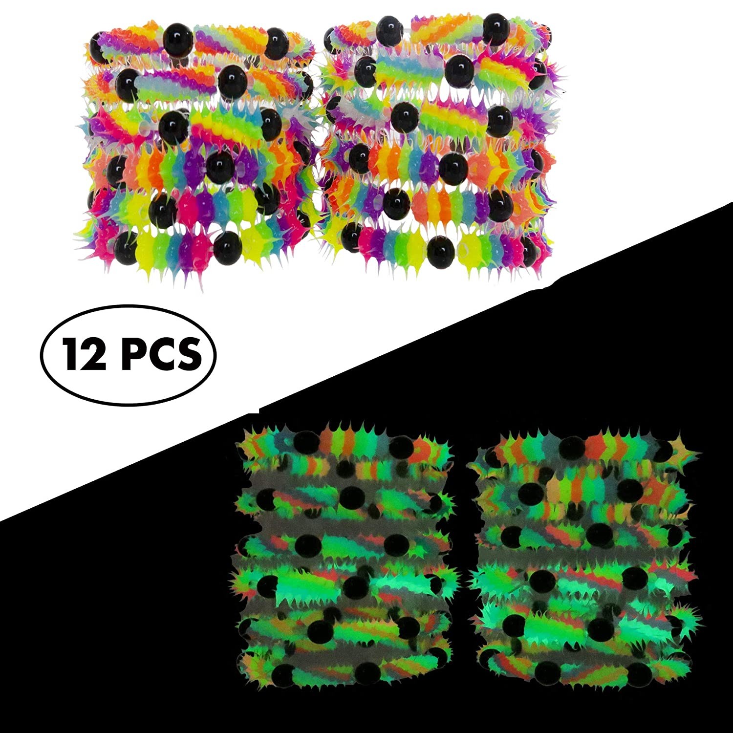 Party Favors and Supplies Frogsac Fluorescent and UV Led Black Light Reactive Neon Rave Beaded Stretch Bracelet Toy Set FROG SAC Glow in The Dark Bracelets for Boys Girls Teens Kids 12 PCs Pack