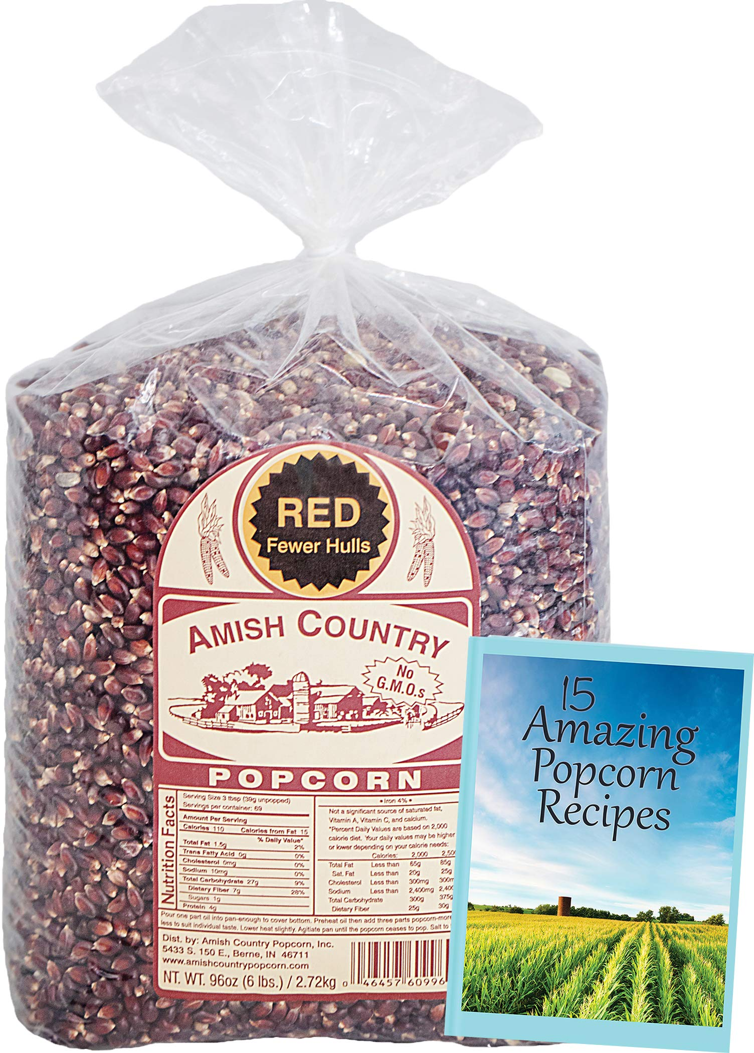 Amish Country Popcorn - Red Popcorn (6 Pound Bag) - Old Fashioned, Non GMO, and Gluten Free - with Recipe Guide by Amish Country Popcorn (Image #2)