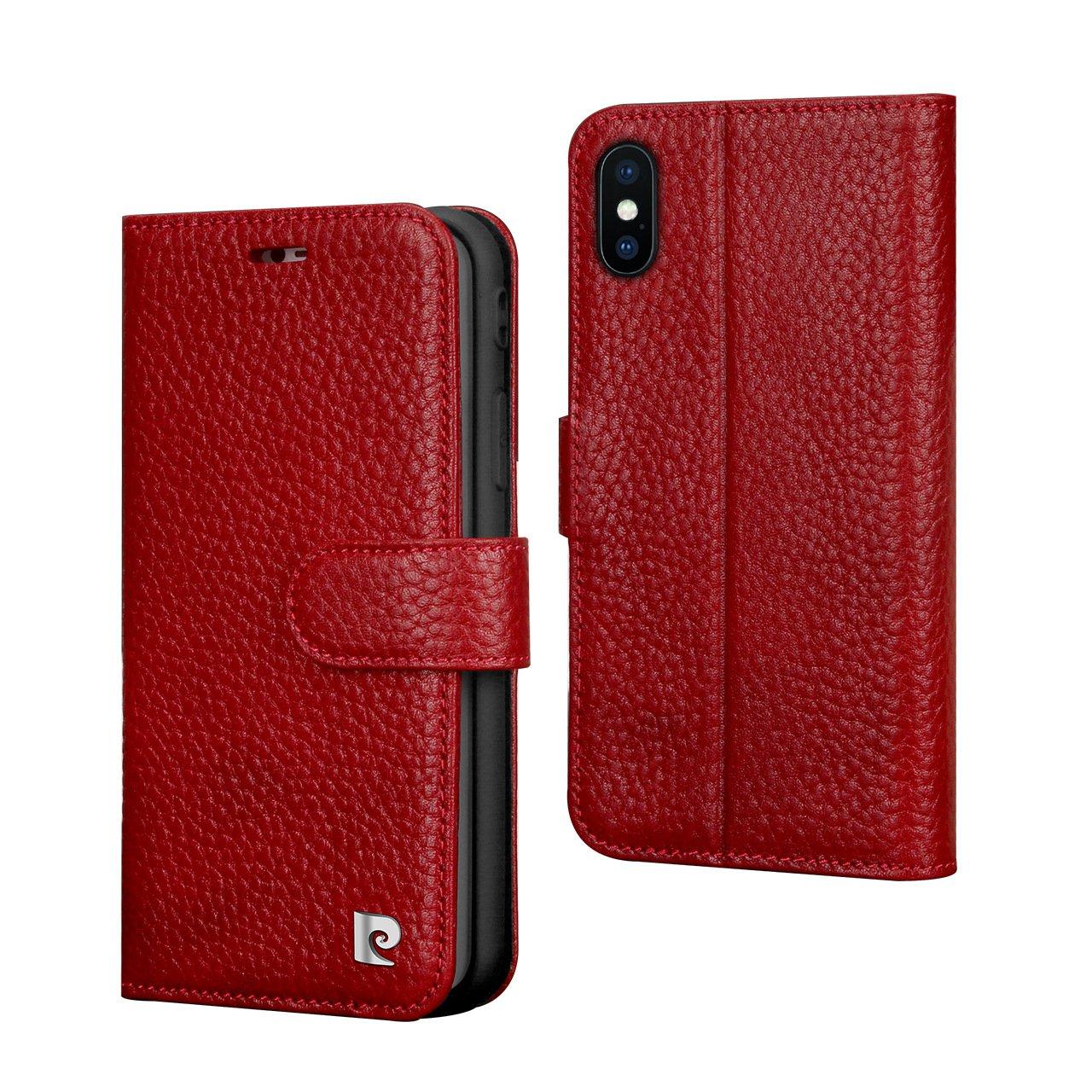 Pierre Cardin Wallet Case Premium Genuine Leather Folio Cover with Credit Card Flip Money Cash Kickstand Detachable Design Slots for Apple iPhone X (Red)