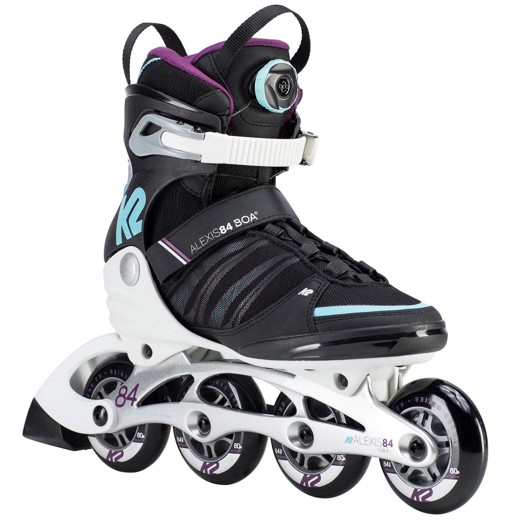 K2 Skate Womens Alexis 84 Boa Inline Skates, Black/Purple, 6.5