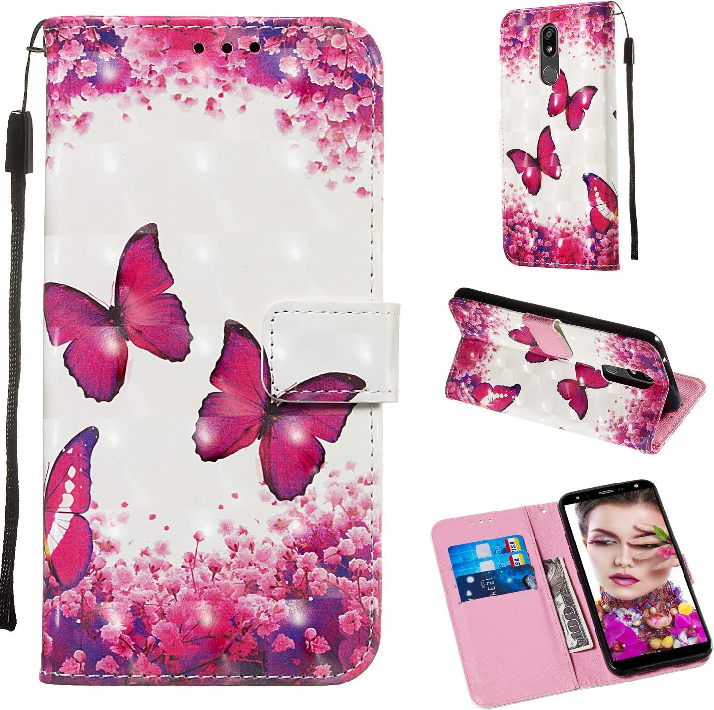LG K40 Case,LG K12 Plus 2019 wallet case for Girls Women 3D Relief PU Leather Wallet Flip Cover with Credit Card Slot and Kickstand Magnetic Folio Case for LG K40 2019 / LG K12 Plus (Butterfly)