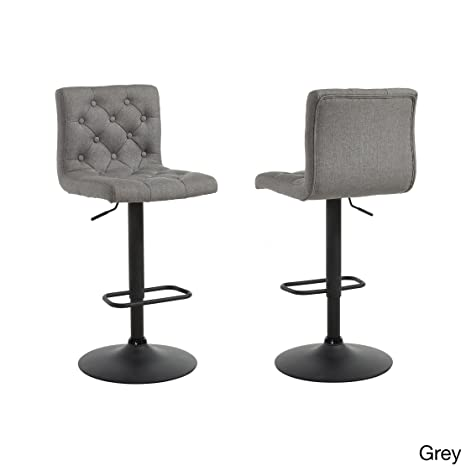 Miraculous Modhaus Living Modern Button Tufted Linen Upholstered Adjustable Height Swivel Bar Stool With Round Black Metal Base Set Of 2 Includes Pen Gray Lamtechconsult Wood Chair Design Ideas Lamtechconsultcom