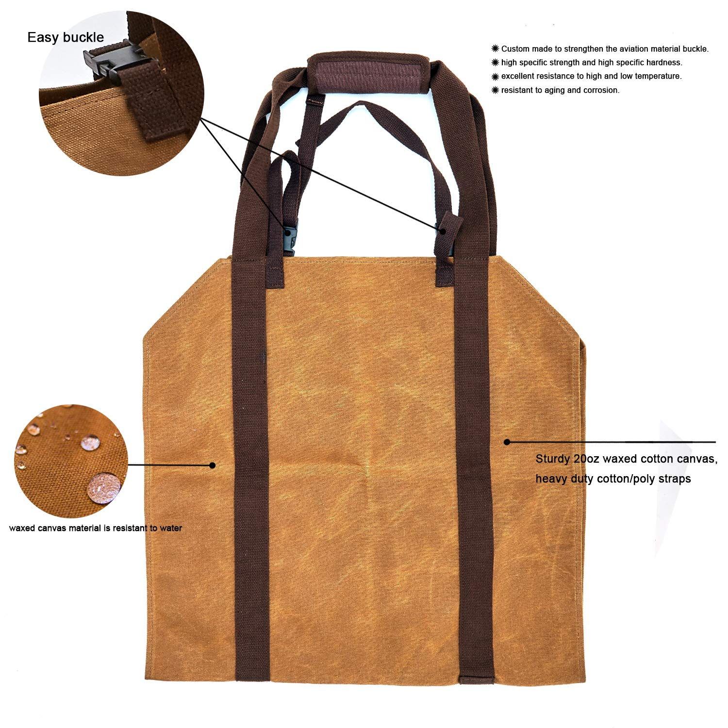 Sturdy Firewood Log Carrier Fire Wood Tote Waxed Canvas Carrying Bag Holder