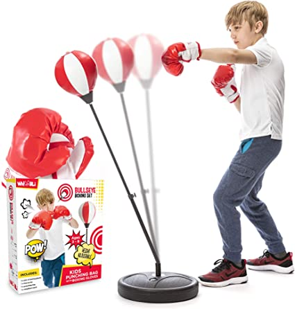 Boxing Punching Bag w// Gloves Punching Ball Set For Kids Toys Play Gift