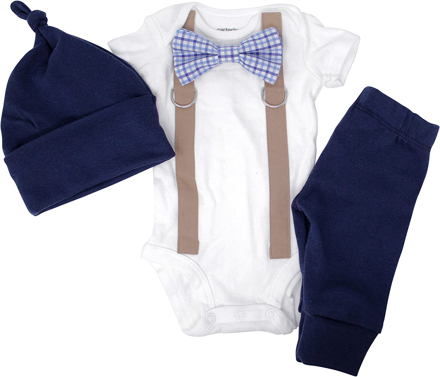 Newborn Boy Coming Home Outfit. Navy & Brown Bow tie and Suspender Take Home Set
