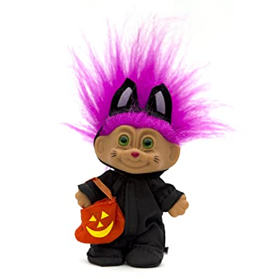 Russ Berrie My Lucky Mini Cat Costume Troll Doll - Fuchsia Hair: Toys & Games