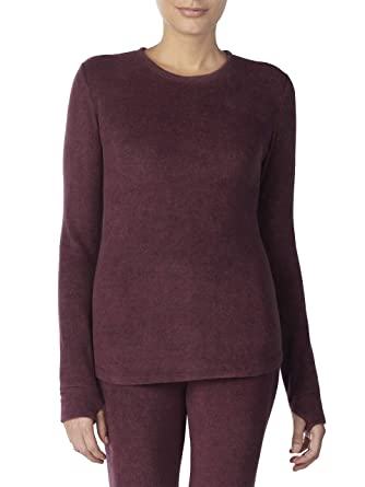 4579baf8b973e1 Cuddl Duds ClimateRight Women s Stretch Fleece Warm Underwear Long Sleeve  Top (4XL - Berry)