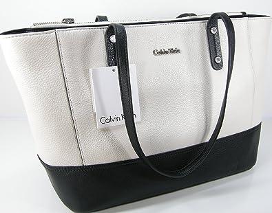 8d20a1b5cc Calvin Klein CK Logo Purse Hand Bag Tote Genuine Black & White Leather:  Handbags: Amazon.com