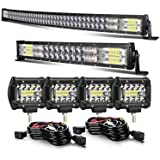 52 INCH 300W Curved LED Light Bar+ 22 INCH 120W Curved Light Bar+4inch 60w LED Light pods With Wiring Kit Combo