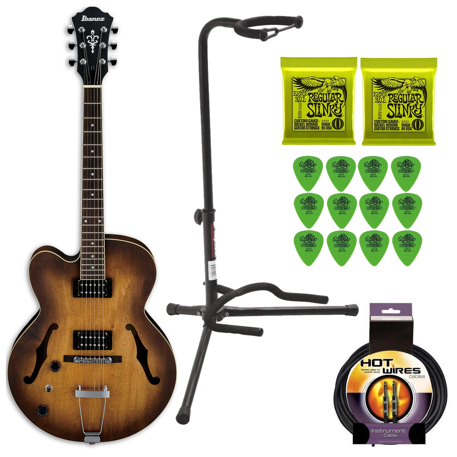 Amazon.com: Ibanez AF55 Hollow Body Left Handed Electric Guitar Deluxe  Bundle Includes Extra Strings, Guitar Stand, 10 Foot Cable and Guitar Pics:  Musical ...