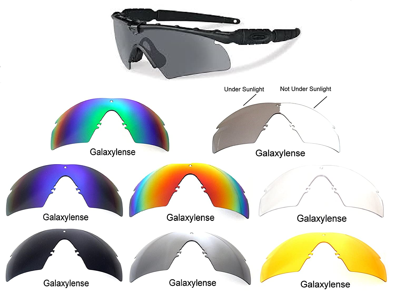 9d183384f6 Amazon.com  Galaxy Replacement Lenses Oakley Si Ballistic M Frame 2.0 Z87 8  Color Pairs Special Offer! (s